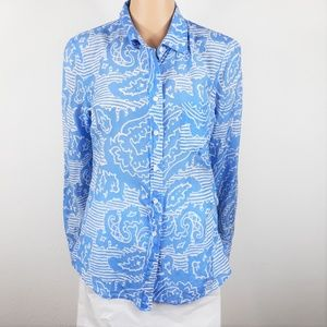 J Crew Boy Blue Paisley Button Up Shirt
